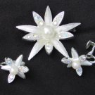 Emmons star flower pin earring set silver tone faux pearls rhinestones