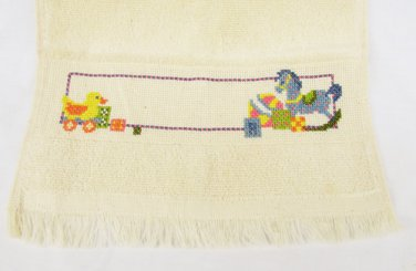 Finished cross stitch baby bib light beige duck horse motif never used