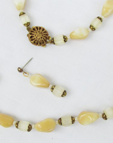 Necklace earring set glass vintage white peachy cream beads restrung