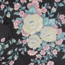 "Black fabric with large  cabbage roses pink white grey yellow 44"" x 1 3/4 yard"