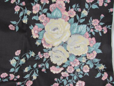 """Black fabric with large  cabbage roses pink white grey yellow 44"""" x 1 3/4 yard"""