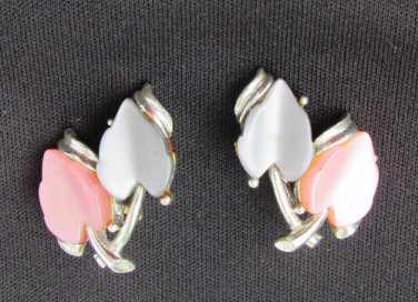 Thermoset plastic gray pink leaves vintage clip earrings silver tone setting
