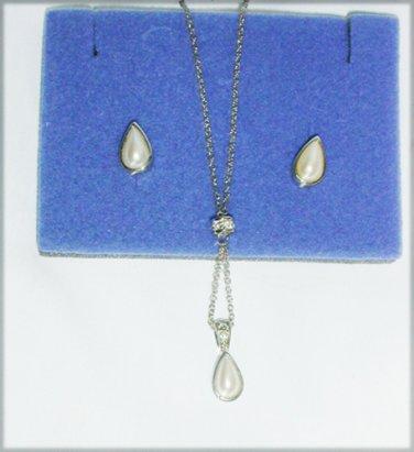 Avon Pearlesque silvertone Y teardrop necklace stud earrings set in box