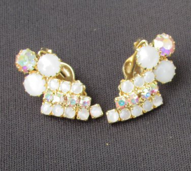 Iridescent pronged rhinestones and white stone vintage clip earrings