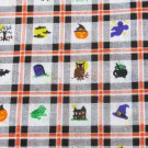 "Halloween fabric pumpkins witches bats squares 44"" wide firm cotton"