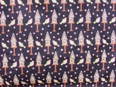 Springs Industries bird house quilting fabric pink hearts black background 1.3yd
