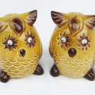 Brown maize glazed owl salt pepper shakers movable eyes & stoppers vintage Japan