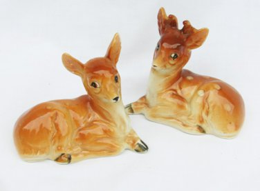 Deer and doe vintage ceramic salt pepper shakers with stoppers
