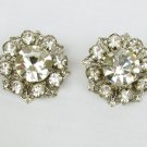 Vintage clip earrings pronged rhinestone flowers 7/8 inch
