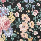 "Cabbage rose fabric black background blue rose gold flowers 44"" wide"
