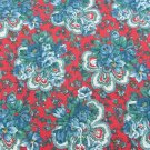 "Fabric deep red background blue flowers 58"" wide dress quilting Victorian look"