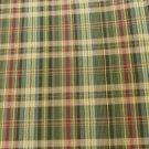 "Plaid cotton blend fabric loden gold burgundy blue stripes 44"" wide shirting dress"