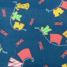"Denim fabric blue with clothespins and dresses 30 x 44"" for child"