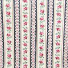 "Navy cream stripe fabric with pink roses quilting cotton 42"" wide"