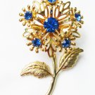 Blue rhinestone flower & leaf pin gold tone setting vintage jewelry