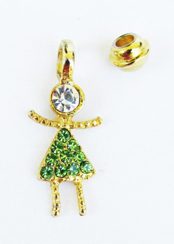 May faux green birthstone rhinestone girl child charm pendant for mother pin