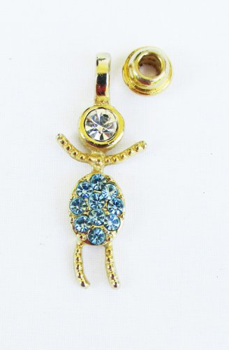 March faux blue birthstone rhinestone boy child charm pendant for mother pin