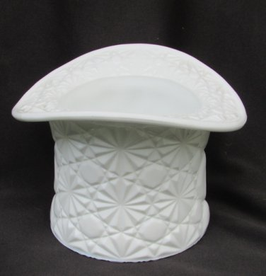 Fenton daisy and button white milk glass top hat large size planter vase