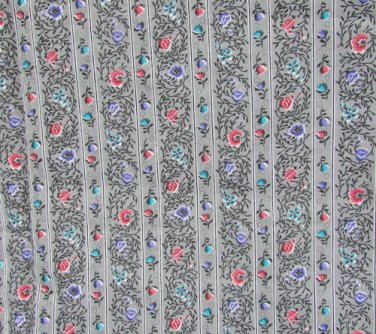 Grey striped fabric flower leaf design one yard 45 inches wide cotton quilting