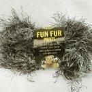 Lion Fun Fur Prints black gray skein full 1 1/2 ounce Lava color