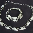 Sarah Coventry necklace & bracelet set silver tone tooled links nice