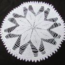 "Doily white star hand crocheted 12"" diameter heavy weight cotton"