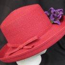 Villager red hat purple flowers staw like material wide brim ladies Liz Claiborne