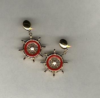 Avon Ship to Shore pierced earrings- red & white