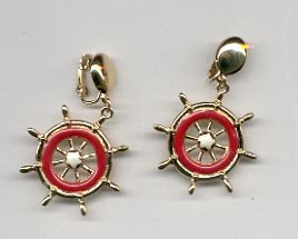 Avon  Ship to Shore clip earrings-   red & white