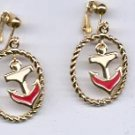 Avon  Drop Anchor Clip Earrings