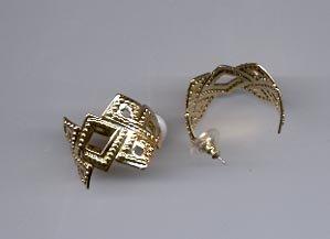 Avon Bold Textured Hoop pcd. Earrings- Goldtone