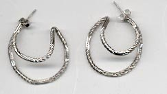Avon Circular Hoop Earrings - Silvertone