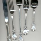 set of 5 Old Master Sterling by Towle- Knife, Fork, Teaspoon, (5 pc. set)
