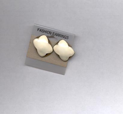 White with gold trim pierced earrings (#5)