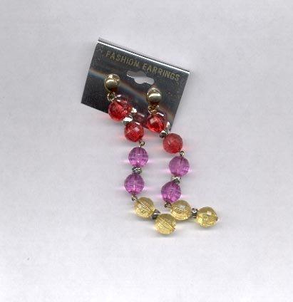 Multi-colored dangling pierced earrings (#26)