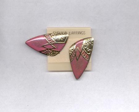 Goldtone, pink pierced earrings (#47)
