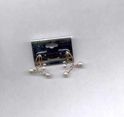 Small triple pearl pierced earrings (# 78)