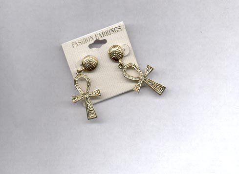 Goldtone cross pierced earrings (#80)