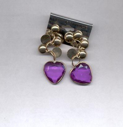 Purple heart dangling pierced earrings (#27)