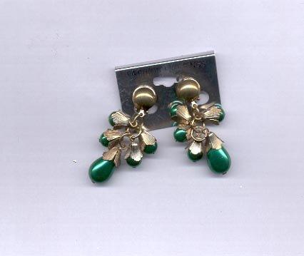 Green dangle clip on earrings  (#147)