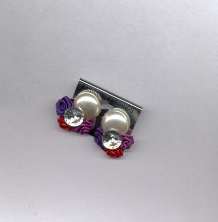 Red, white, blue, purple clip on earrings (#154)