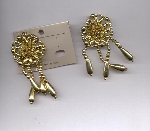 Goldtone cluster dangle clip on earrings (#156)