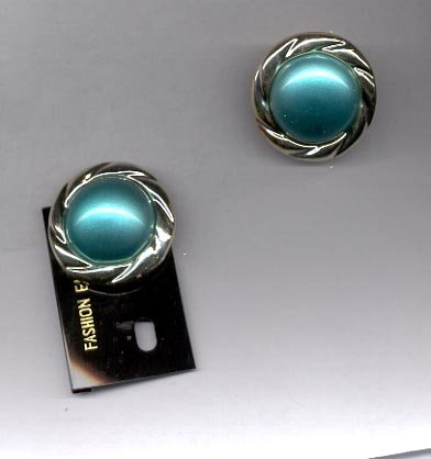 Blue Green  with silvertone clip on earrings (# 152)