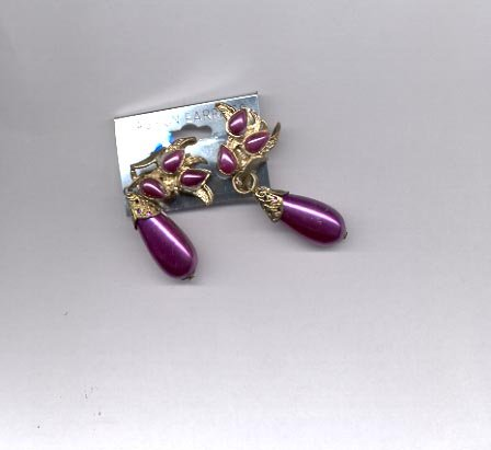 Purple and goldtone clip on earrings (#163)