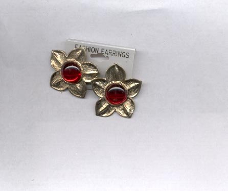 Red and Goldtone clip on earrings (# 150)