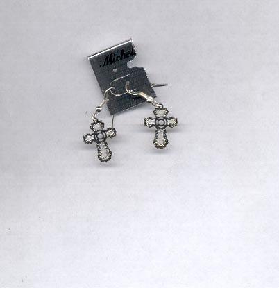 Silvertone cross pierced earrings with wires (#43)