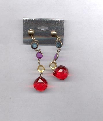 Dangle with red ball and with goldtone, purple, green, clear, pierced earrings. (#69).