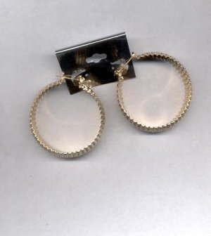 Large Hoop goldtone pierced earrings (#72)