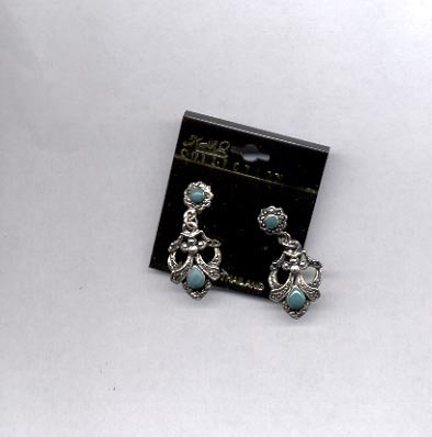 Silvertone and green  pierced earrings (# 73)