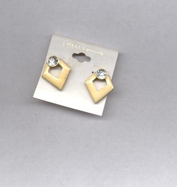 Yellow and clear pierced earrings (#50)